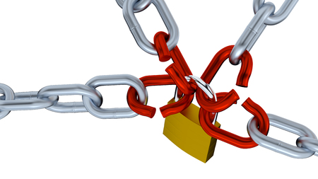 Four Big Chains with Four big Red Links locked by a Padlock on a white background