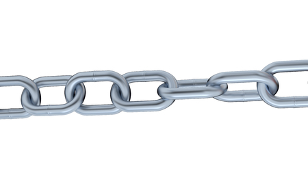 One Metallic Chain with big Links on a white background Stock Photo