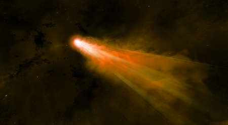 One Red and Orange Meteor crossing the dark space like a comet Stock Photo