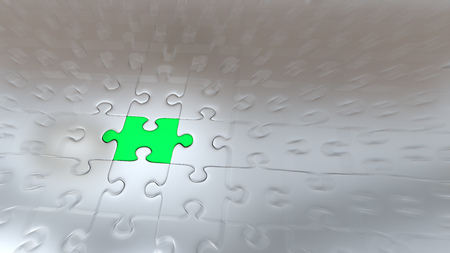 Zoom effect on One Green Puzzle Piece inside all other Silver Pieces Standard-Bild - 111764794