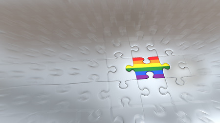 Zoom effect on One Rainbow Puzzle Piece inside all other Silver Pieces Stok Fotoğraf - 111769165