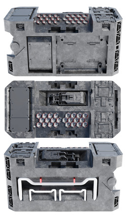 Top View with Right and Left Sides Views of a Technical Sci-Fi Box like a Power Container on a white background