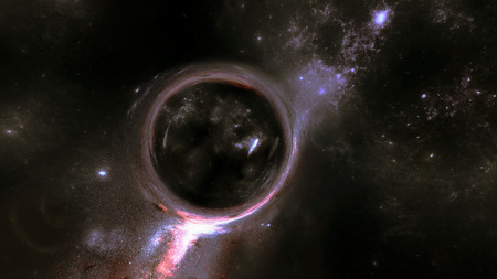 Large Gravitational Magnifying Effect in front of Nebula and Stars in the Deep Space