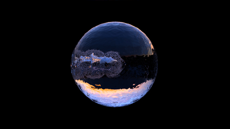 Large Water Ball with a small Chrome ball going through in the middle on a Black Background Banco de Imagens