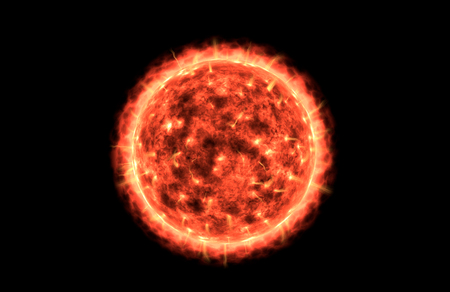 Large Boiling and Glowing Red Sun with a Balck Background