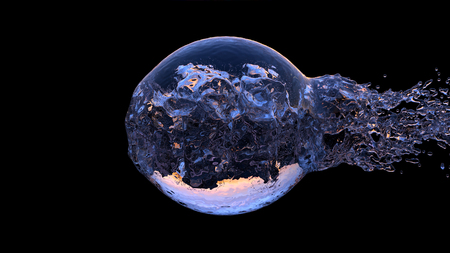 Large Water Ball with a big blast from left to the right on a Black Background