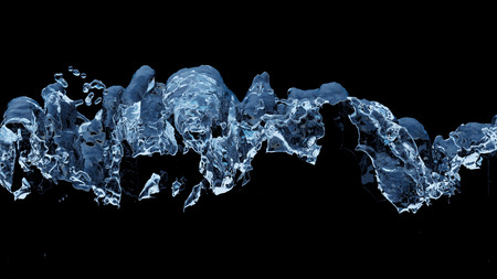 Large Liquid boiling all along the middle of the picture with a black background