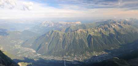 Wide view from Aiguille du Midi mountain of the french Chamonix Valley Stock Photo