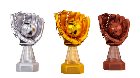 Front View of Baseball Glove and Ball Trophies on a white background
