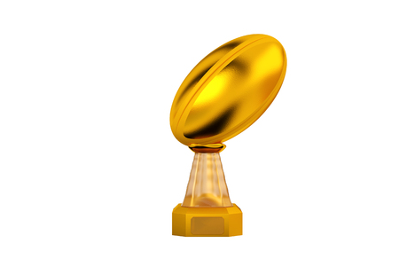 Front View of Rugby Gold Trophy with a white Background Stock Photo - 116702906