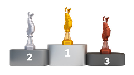 Front View of a Podium with Golf Bag Trophies on a white background