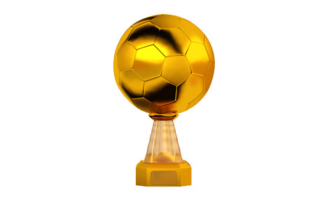 Front view of Football Gold Trophy with a white background