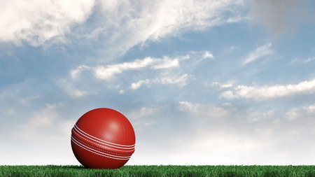 Cricket ball put on a well cut lawn with a blue sky background Фото со стока