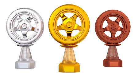Front view of Gold Wheel Sport Silver and Bronze Trophies with a white background Reklamní fotografie