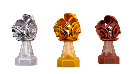 Front view of Dumbbell Gold Silver and Bronze Trophies on a white background
