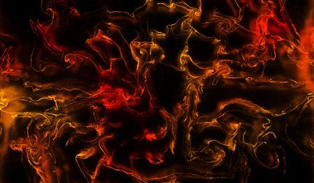 Lots of thin Orange and Red Waves Splashs and Swirls in a dark Liquid
