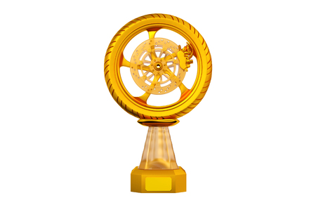 Front view of Sport Motorbike Gold Trophy on a white background