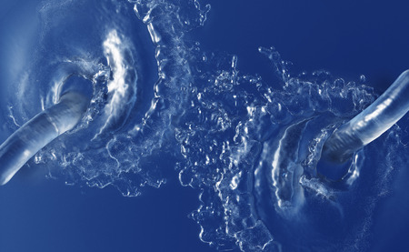 Two Large Water Jets splashing in a dark blue Liquid with waves