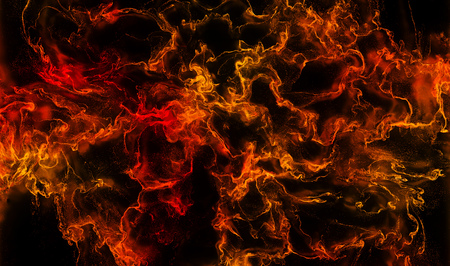 Many Red and Orange Swirls and Waves in a dark Liquid