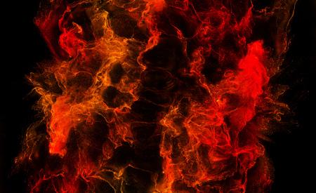 Many Orange and Red Waves Splashs and Swirls with foam in a dark Liquid