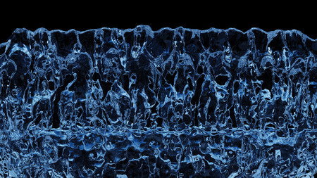 Blue boiling liquid all along the screen with a black background