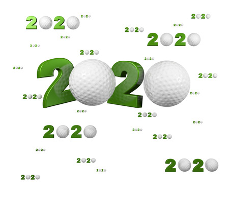Many Golf 2020 Designs with many Balls on a White Background
