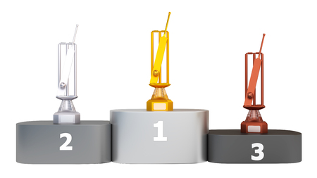 Front View of a Podium with Cricket Bat and Ball Trophies on a white background