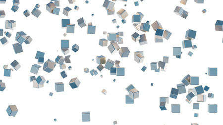 Several light blue cubes scattered on a white background