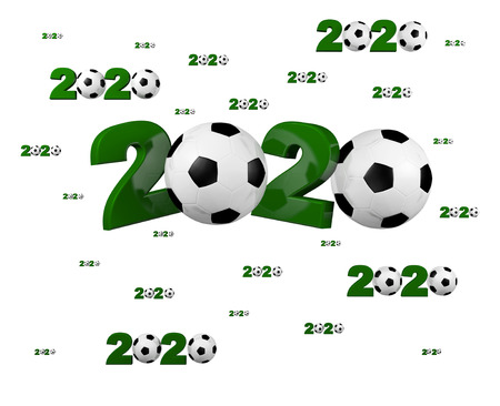 Many Football 2020 Designs with many Balls on a White Background