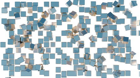Mess in a grid of lots of golden and blue cubes with a white background