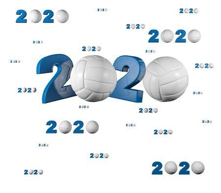 Many Volleyball 2020 Designs with many Balls on a White Background
