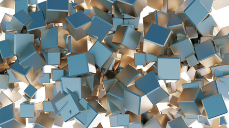 Mess of many golden and blue cubes with a white background