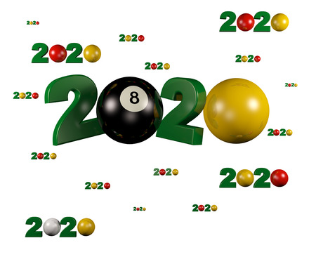 Many Billiard 2020 Designs with many Balls on a White Background