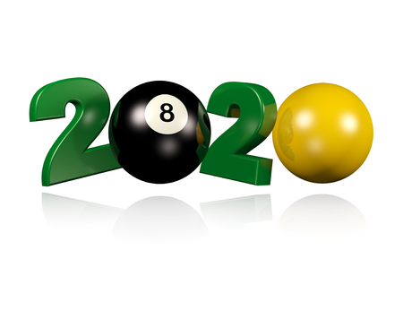 Billiard 2020 Design with a White Background Reklamní fotografie