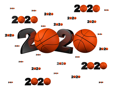 Many Basketball 2020 Designs with many Balls on a White Background 版權商用圖片