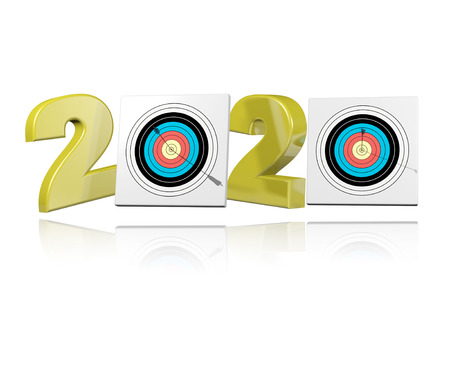 Archery Target 2020 Design with a White Background Stock Photo