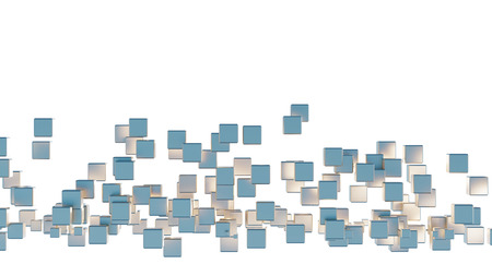 Zone of many light blue and golden cubes with a white background