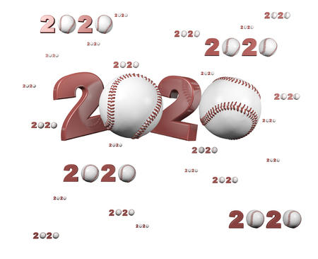 Many Baseball 2020 Designs with many Balls on a White Background