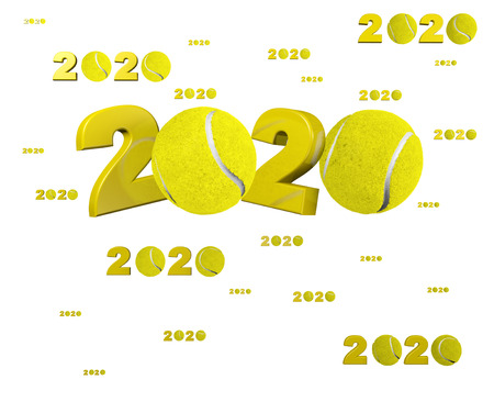 Many Tennis 2020 Designs with many Balls on a White Background