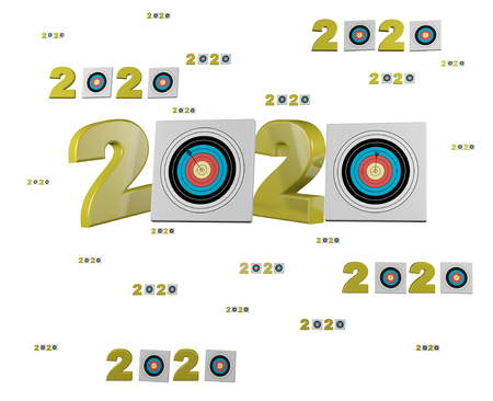 Many Archery 2020 Designs with many Target on a White Background