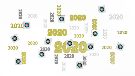 Top View of Several Archery 2020 Designs with Some Target on a White Background