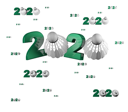 Many Badminton 2020 Designs with many Shuttlecock on a White Background