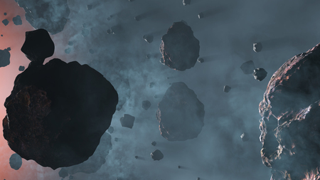 Lots of Asteroid rocks with some large inside a light blue fog with a star red glow