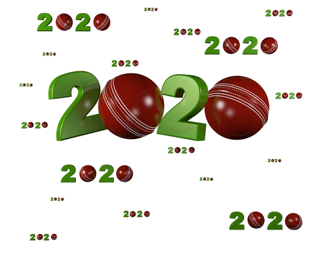 Many Cricket ball 2020 Designs with many Balls on a White Background