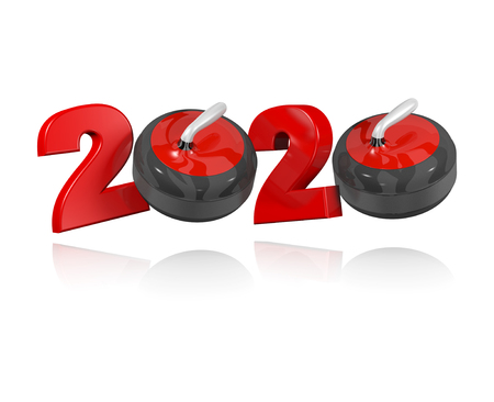 Curling stone 2020 Design with a White Background