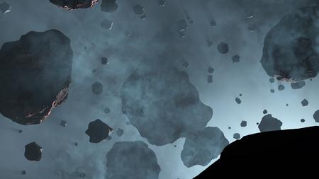 Beaucoup de roches astéroïdes avec quelques grandes à l'intérieur d'un brouillard bleu clair avec une lueur bleue froide d'étoile Banque d'images