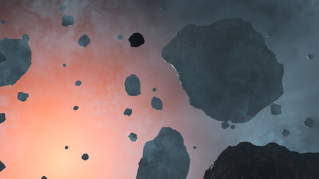 Some Large and Small Asteroid rocks inside a light blue fog with the red glow of a star Banque d'images