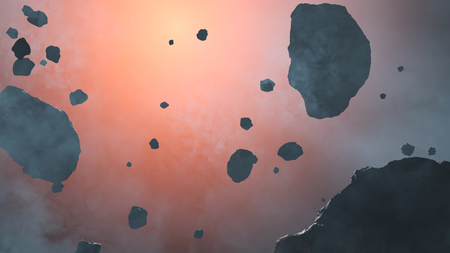 Few Small and large Asteroid rocks in front of the red glow of a star with space fog