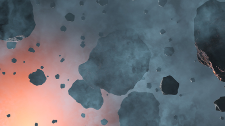 Many Asteroid rocks inside a light blue fog with the red glow of a star Banque d'images