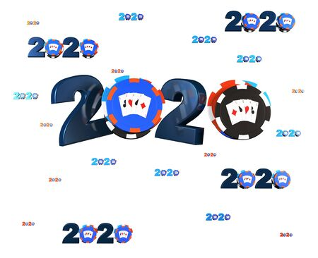 Many Poker Chip 2020 Designs with many Chips on a White Background
